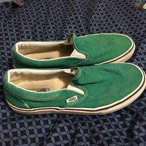 Green slip-on Vans